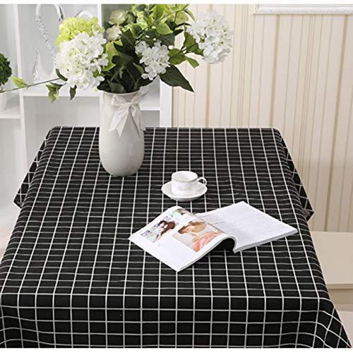 ZYT Waschbar, schmutzabweisend, pflegeleicht, hochwertig,Tischdecke aus Baumwolle und Leinen einfache Pastorale Gitter nach Hause geometrische rechteckige Tischdecke schwarzen Gitter 140X200CM