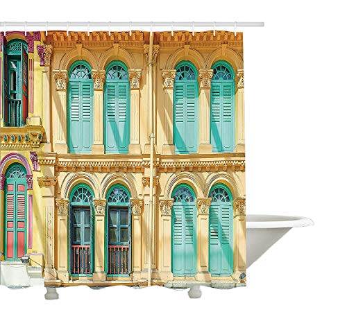 Yeuss-Fensterläden-Dekor-Kollektion, Fenster und Tür buntes kulturelles Design-Architektur-Holzhaus am sonnigen Tag, Polyester-Duschvorhang aus Bad mit Dusche, Set mit Haken, Beige Türkis 72 \'x 80\'