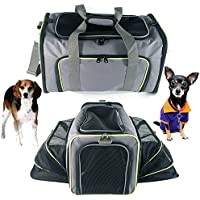 ABI Varilla Pet Ampliable Bolsa, Plegable, asa Plegable Mascota con Cómodo Liegematte, Suave Gato Cesta Perros Bolsa de Transporte, para Auto de y Vuelo Viajes.