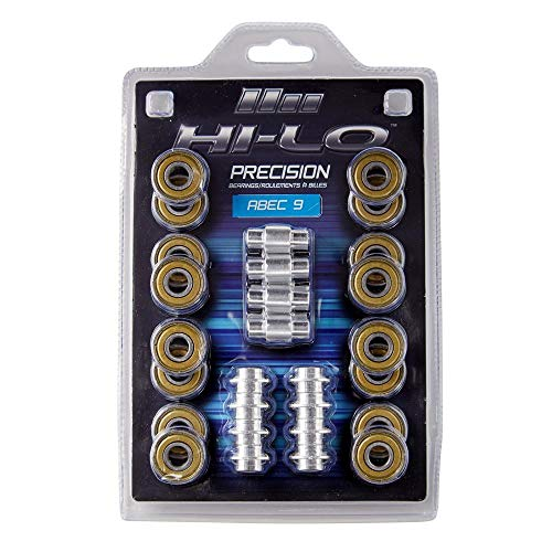 HILO 16ER Set Inline KUGELLAGER ABEC 9 608 inkl. Spacer, Komplett-Set für Inline Skates, Inline Hockey, Speed Bearings