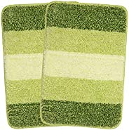 Saral Home Green Soft Microfiber Anti-Skid Bath Mat (Pack of 2, 35x50 cm)