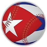 Adesivo per paraurti auto, motivo: pallone da baseball con bandiera di Cuba, 12 x 12 cm