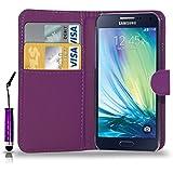 Samsung Galaxy A3 (Not For 2016) - pochette de cuir Étui rabattable housse capot + Mini Touch Stylet + écran protecteur & chiffon de polissage ( violet foncé )