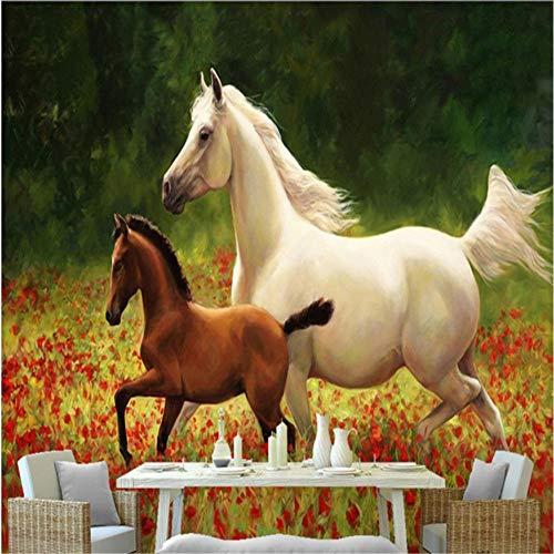 Smydp Hintergrundbild Große Tapete Rot Blüht Meer Ein Weißes Pferd Und Eine Kleine Braune Pferdemalerei,250X175Cm