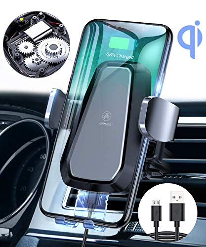 VANMASS Automatisch Wireless Charger Auto Handyhalterung Elektronisch Motor Betrieb 10W Fast Charging Extra Stabil Lüftung Qi Ladestation Auto für iPhone 11/XS/XR/8 Galaxy S10/Note10 Andere Qi Geräte