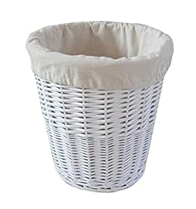 Homescapes Lined White Round Willow Wicker Waste Paper