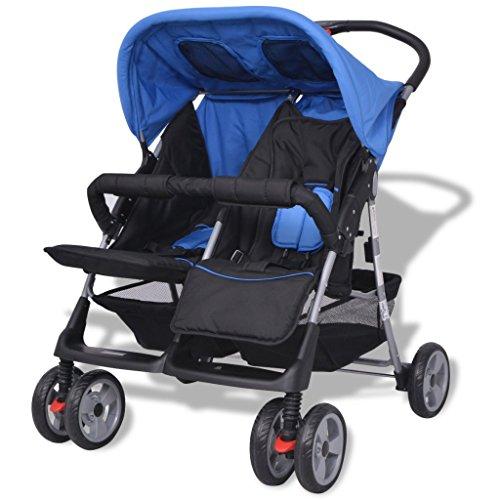 vidaXL Baby Twin Stroller Steel Blue and Black  vidaXL
