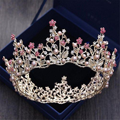 Crystal-kristall-palast (Goldene Kreis Krone Braut Kopfschmuck Crystal Pearl Diamond Schmuck Prinzessin Brautkleid Haar Ornamente)