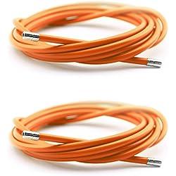2x Funda Color Naranja para Cable de Freno de Acero Laminado Sirga de Ø5 y 2m para Bicicleta Fixie Retro 2898nj_2