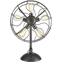 Lonfenner Forma di ventaglio americano lampada da tavolo vintage retrò tifosi ventilatori industriali industriali lampada 62cm - Caduta Pendenti Una Luce