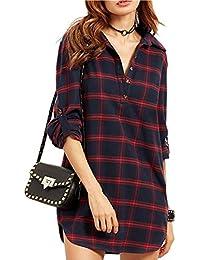 Pagacat Damen Blusenkleid Hemdkleid Kariertes Kleid Blusenshirt  V-Ausschnitt Shirt Tunika Minikleid Baumwolleneinen Lange… a907f92e4a