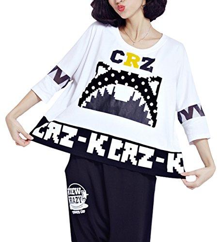 ELLAZHU Femme Été Blache Grande Taille Large Convenable Impression T-Shirts GA631 A white