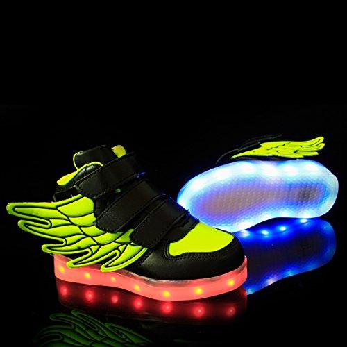 DoGeek LED Schuhe Blau Grau Kinder Damen 7 Farbe USB Aufladen Leuchtend Sportschuhe LED Kinder Farbwechsel Sneaker Turnschuhe für Herren Damen (Bitte Bestellen Sie eine Nummer grösser) Grün