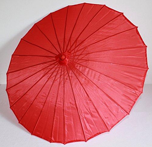 AAF Nommel ® Deko- Sonnenschirm aus Holz in rot, einfarbig transparent, (Geisha Kostüme Asiatische)