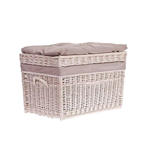 Wäschetruhe aus Weide mit Sitzkissen, 70x42x47cm - 2