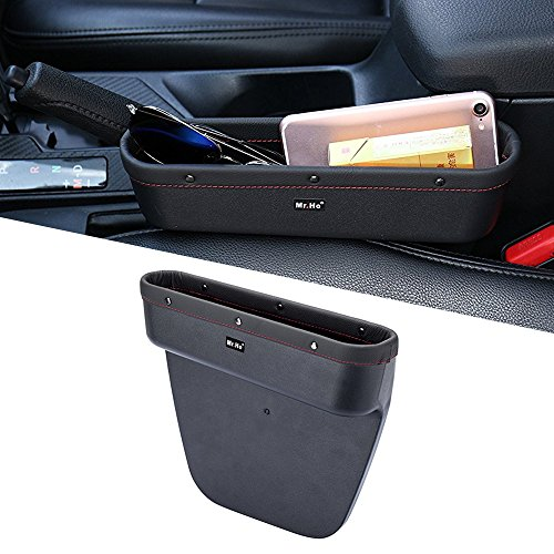 Mr. Ho Auto Seat Seiten-Schlitz-Taschen Leder Auto-Sitzablagefach Organizer Fit Für Sitz und Konsole Slot von Autos Schwarz (Links) -