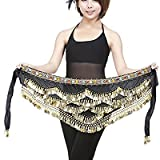 #9: Baby and Blossoms Belly Dance Hip Scarf Gold Coins Belly Dance Costume Skirt Wrap Belt