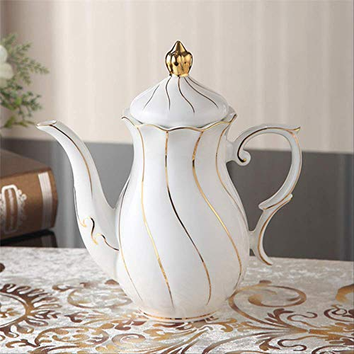 QYYDMKB Gold Inlay Bone China Kaffeeservice Britisches Porzellan Teeservice Keramiktopf...