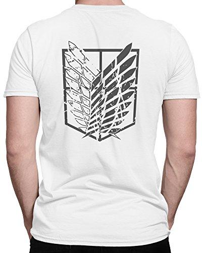 Attack on Titans Aufklärungstruppe Scouting Legion / Premium Fun Motiv T-Shirt XS-5XL mit Aufdruck / Ideales Geschenk Weiß/Grau