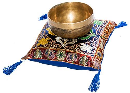 Son Set de Bols Noir et Bronze pour méditation et relaxation, diamètre 13–15cm, wunderschönes handgefertigtes Instrument Chantant en Népal, complet avec klöppel et autel de coussin 20x 20cm