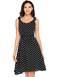 Zeela Damen Elegantes Festliches Retro Vintage Chiffon Kleid mit Punkten  Knielang Rockabilly Abendkleid Partykleid 8f3e337fb7