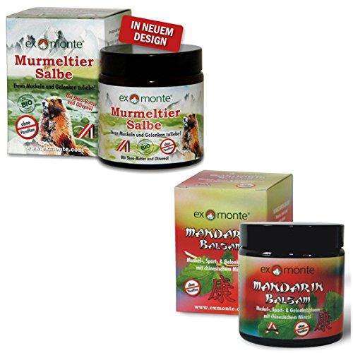 Original exmonte Murmeltier-Salbe + Original exmonte Mandarin-Balsam, 2er-Set !!