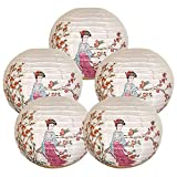 """Just Artifacts 16"""" Beauty and Flowers Chinese Japanese Paper Lanterns (Set of 5) - Click for More ChineseJapanese Paper Lantern Colors & Sizes"""