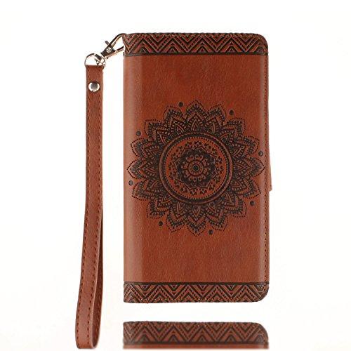 yhuisen Gehäuse des Leder Relief Mandala Stechäpfel Blume PU Stand/Slot-Karte mit Handschlaufe Lanyard Werfen die Deckung von Fall für Sony Xperia XA Brown