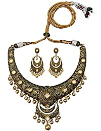 Traditional Antique Kundan Gold Plated Brass Hasli Necklace Set For Woman