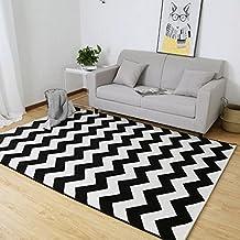 WTL Nórdico Simple Moderna Sala de estar Sofá Mesita de café Alfombra Dormitorio Cama Full House Home Sala Blanco y Negro Enrejado ( Tamaño : 0.8 x 1.2 m Weight 1.6 kg )