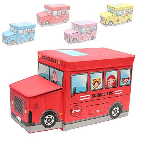 1PLUS faltbarer Kinderhocker Kinderbank Aufbewahrungsbox Spielzeugkiste, 55 x 25 x 33 cm, in verschiedenen Farben (Rot)