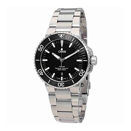 Oris Aquis Fecha Negro Dial 43,5mm Hombres de acero inoxidable reloj de 73377304154MB