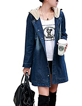 Mujer Manga Larga Chaqueta Encapuchado Vaquera Chaqueta Abrigo Denim Jacket