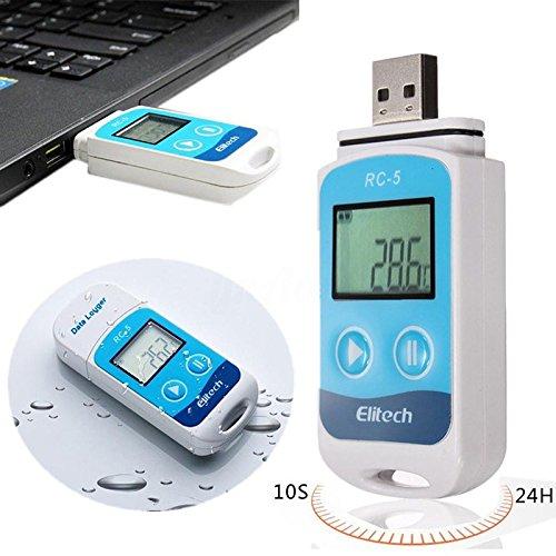 Rungao Mini USB Temp Rekorder Temperatur Datenlogger Wasserdichter Thermometer, Datenlogger, Messgerät mit RC-5-Recorder und internem Sensor -