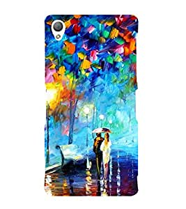 Fiobs Designer Back Case Cover for Sony Xperia Z3 Compact :: Sony Xperia Z3 Mini (Girl Boy Rain Water Bench light Colourful)