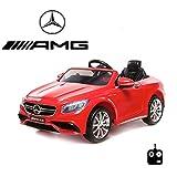 MERCEDES-BENZ S63 AMG Kinder Elektroauto Deluxe-Edition, 2.4GHz Fernbedienung, Multifunktionslenkrad, MP3-Anschluss, realistischen Soundeffekten, 12V Powerakku und 2x35W starker Motor, 2 Speed, und vieles mehr (Rot)