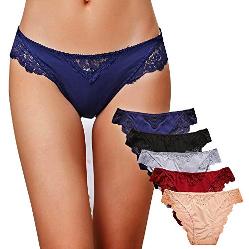Damen Sexy Spitze Unterwäsche Panties Hipster Soft Slips lace Höschen Dessous Niedrige Taille Glamour Slips Damen 5er Pack/6 Pack, Art-4, M