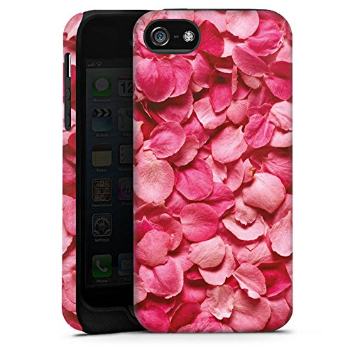 Apple iPhone 5 Housse Étui Protection Coque Feuilles de roses Pétales Rose vif Cas Tough terne