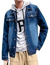 Vinyst Men Standard-fit Turn Down Collar Casual Single-Breasted Denim Jacket Coat