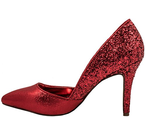 Elara Damen Pumps | Spitze Stiletto High Heels | Moderne Pumps Rot Marseille