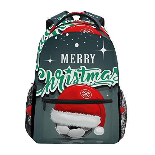 Buchtasche für Teenager Mädchen Jungen, Mütze Santa auf Fußballball, Weihnachten, Reiserucksack für Damen und Herren ()