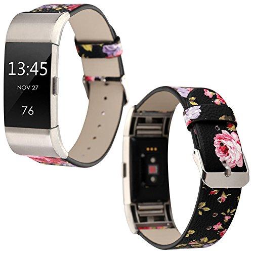 Leder Armband Fitbit Charge2, Sasairy Damen Pu Leder Armband mit Blumen Muster Uhrenarmband Lederarmband für Fitbit Charge2, Rot + Schwarz
