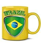 Brasilien Brazil Brasil Fan Artikel 4723 Fuss Ball Welt Europa Meisterschaft WM 2022 Kaffee Tasse Becher Geschenk Ideen Fahne Flagge Team Gelb