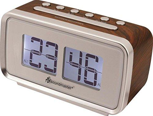 Soundmaster UR105BR Retro PLL UKW Radiowecker mit Dualalarm, LCD Display