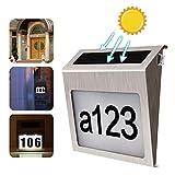 solari Numeri civici Lampade da parete Targa numero civico LED Targa porta 0-9 Numero lettere Tag Lampada solari Numeri civici Lampade da parete di luce automatica Targa anticorrosiva wireless