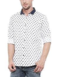 SHOWOFF Mens White Printed Casual Shirts