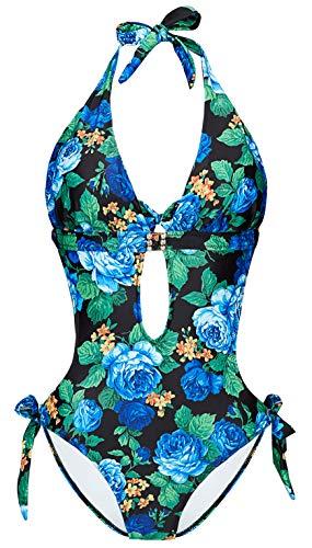 Eomenie Monokini Badeanzüge für Damen, Einteiler Badeanzug mit Cutout Bauchkontrolle, V-Ausschnitt, Bindekragen - - Medium (38-40) Cut Out Band
