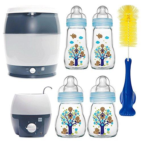 MAM Premium Set mit Glasflaschen Blau Starterset für Neugeborene Starter Flaschenset