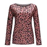 serliyDamen Bluse Leopardenmuster Langarm Elegant Casual Rundhals Pullover, Frauen Sexy Slim Fit Tunika Sweatshirts Hemd Kostüm Womens Leopard Printed Tops Oberteile
