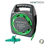 Kewtech ACC50MTL - 50 metre R2 Earth Bond Extension Wander Lead Reel For All Brands Of Multifunction And Insulation Testers, Used for Continuity Verification And R2 testing With Detachable Crocodile Clip